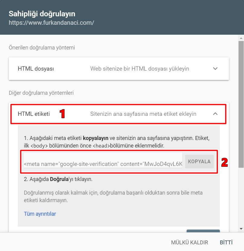 webmaster tools site doğrulama