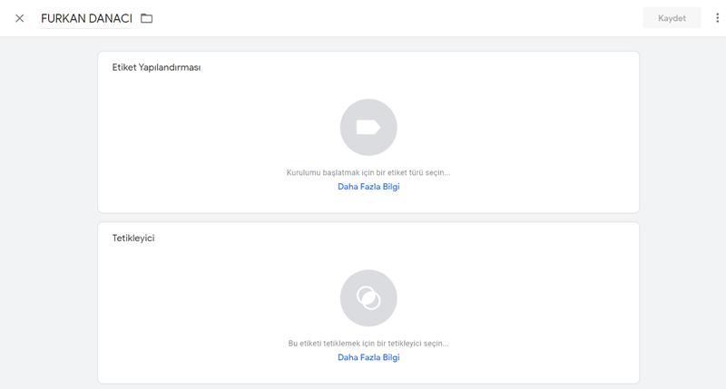 Google Tag Manager Etiket